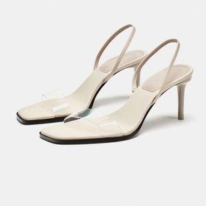 Zara thin vinyl strap stiletto heel clear sandals